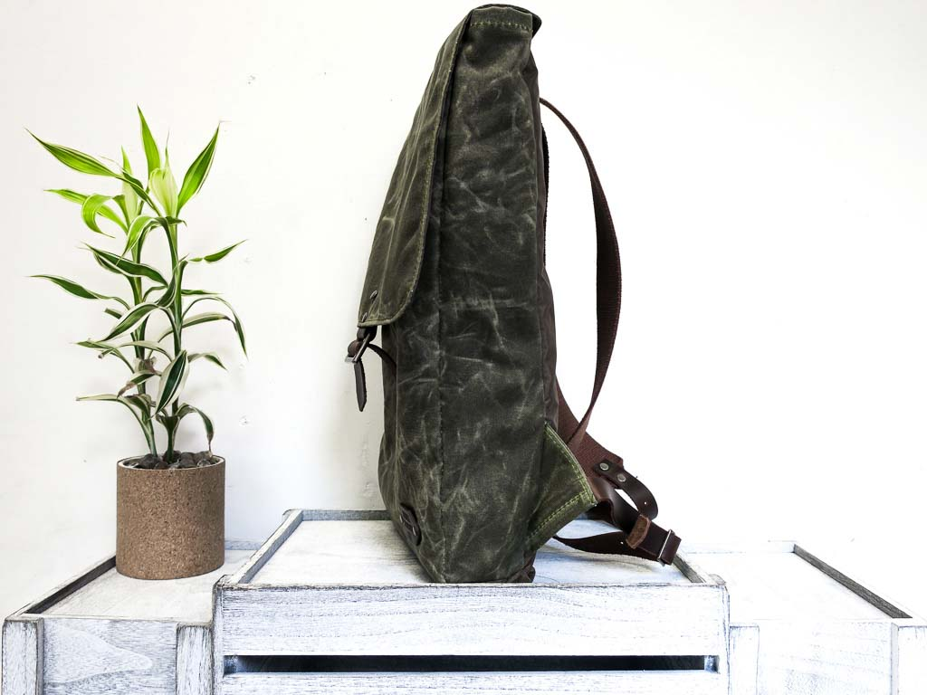 Uphill Designs - Potomac waxed canvas rucksack - olive - side