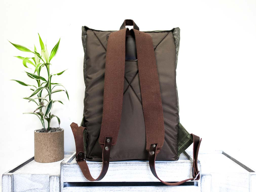 Uphill Designs - Potomac waxed canvas rucksack - olive - back