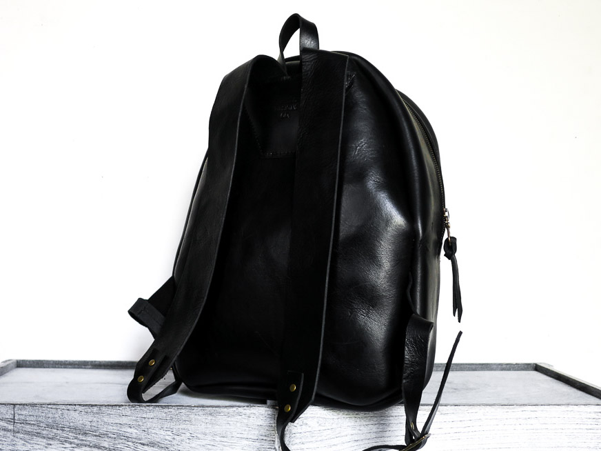 Uphill Designs - Aster leather backpack - onyx black - back
