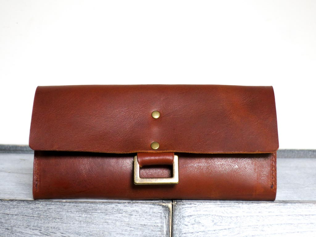 Uphill Designs - Annette leather and wallet clutch - english tan - front