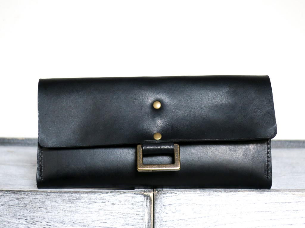 Uphill Designs - Annette leather and wallet clutch - onyx black - front