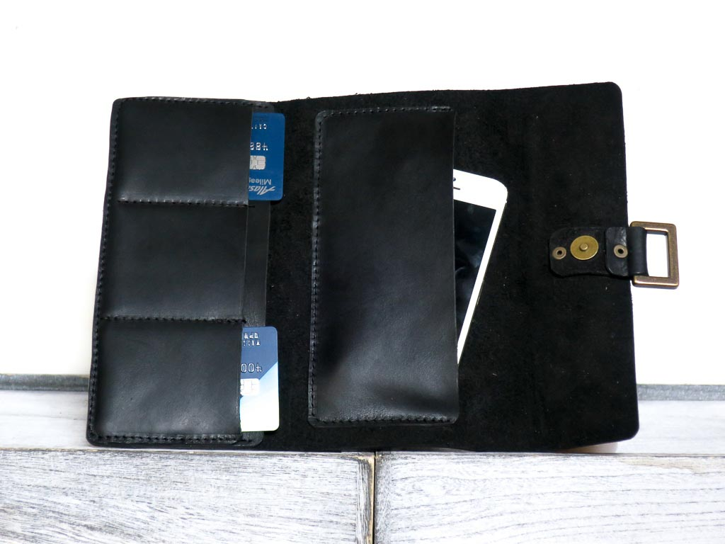 Uphill Designs - Annette leather and wallet clutch - onyx black - open