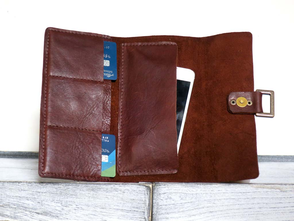 Uphill Designs - Annette leather wallet clutch - sienna brown - open