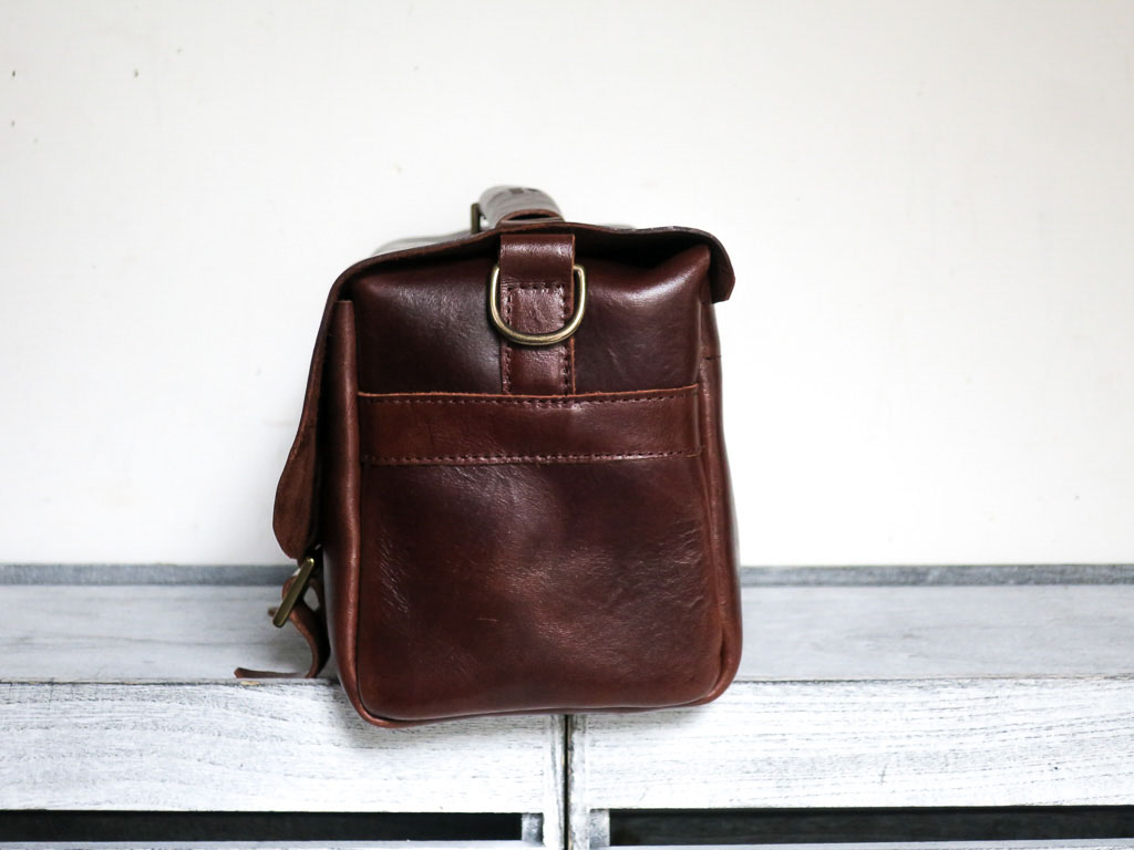 Uphill Designs - Morino leather DSLR camera bag - sienna brown - side