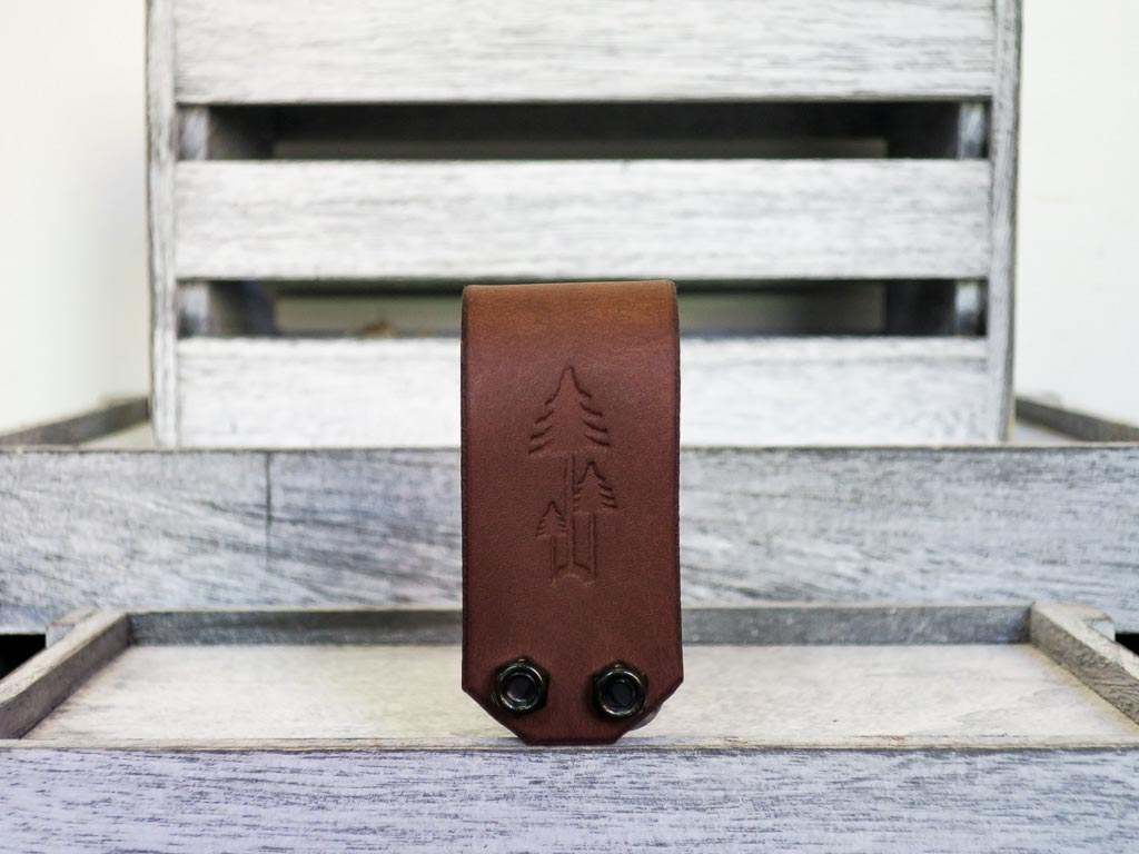 Uphill Designs - Acadia leather wrapped bicycle multitool - medium brown front