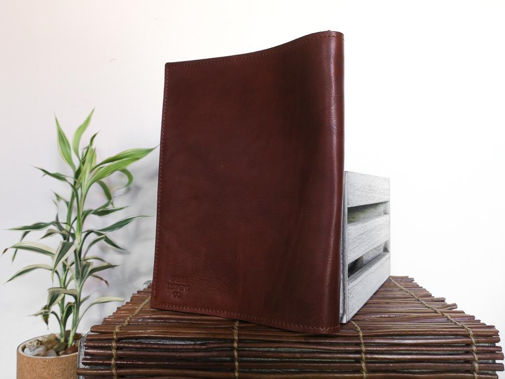 Uphill Designs - Mosaic leather portfolio - english tan - angled back