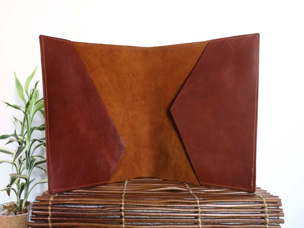 Uphill Designs - Mosaic leather portfolio - english tan - open