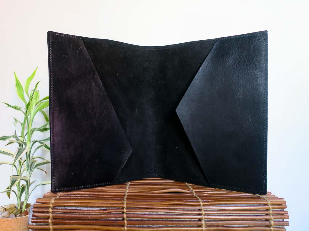 Uphill Designs - Mosaic leather portfolio - onyx black - open