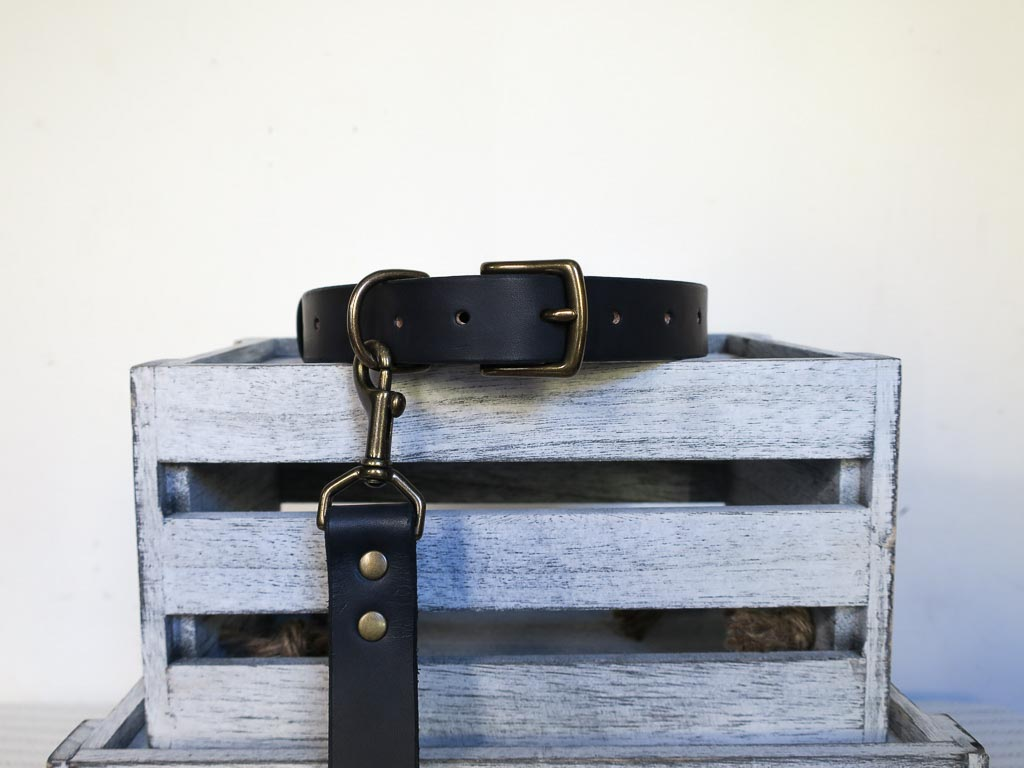 Uphill Designs - Barker pet collar - black attached to collar