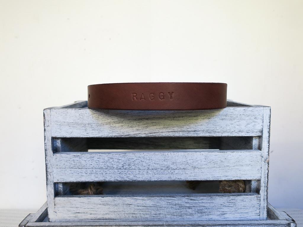 Uphill Designs - Barker pet collar - medium brown back