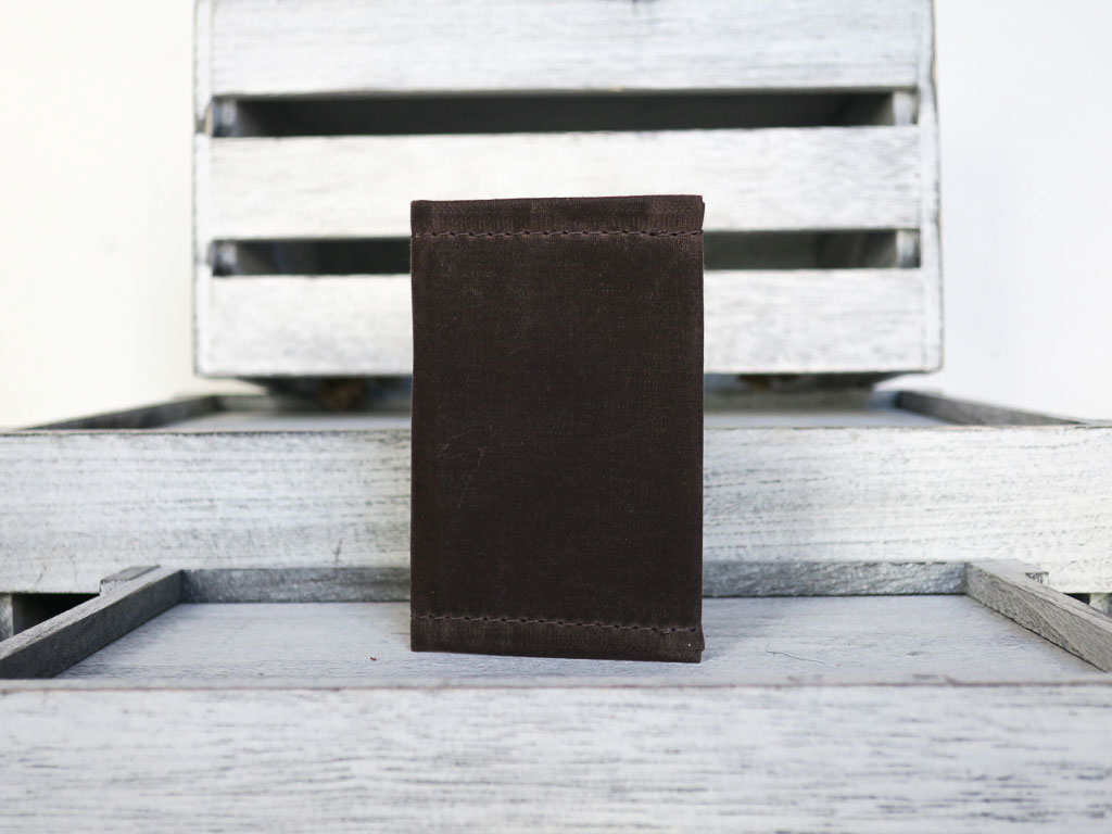 Uphill Designs - waxed canvas mono wallet - oak - closed
