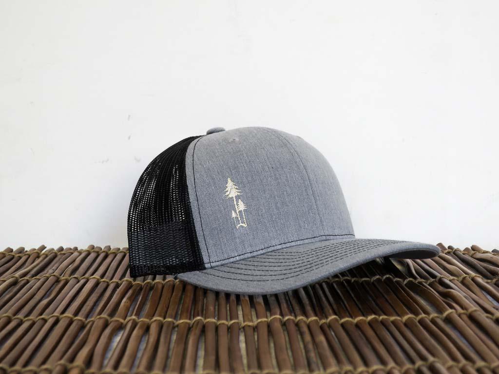 Uphill Designs - trucker hat - light grey - three trees design