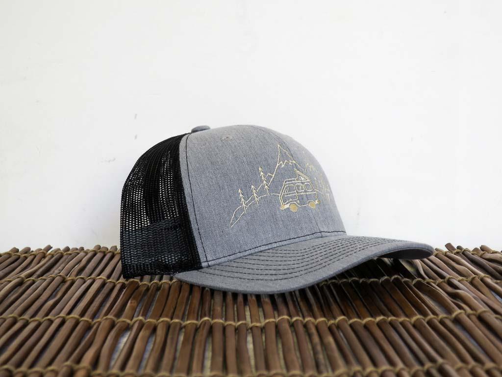 Uphill Designs - trucker hat - light grey - daydream design