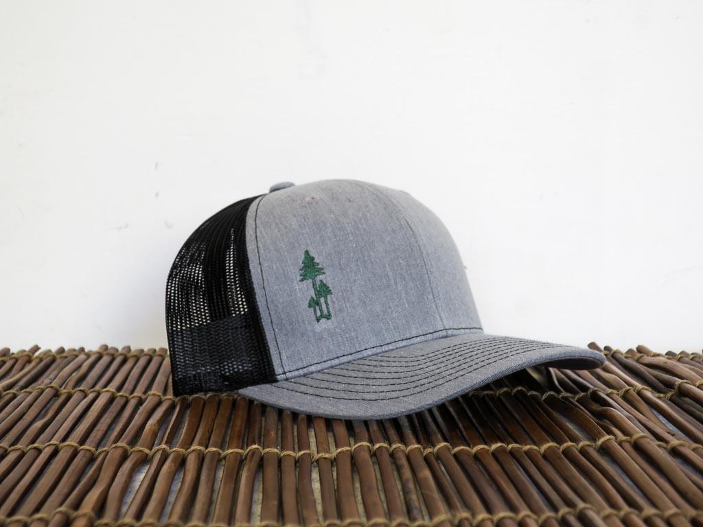 Uphill Designs - trucker hat - light grey - green stitching - three trees design