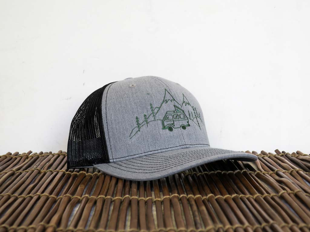 Uphill Designs - trucker hat - light grey - green stitching - daydream design