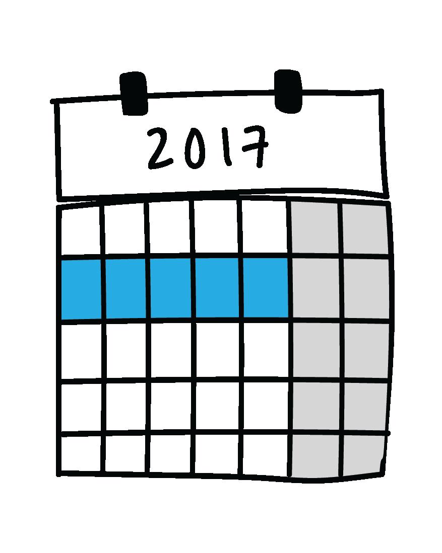 Tegning av kalender med én uke markert.