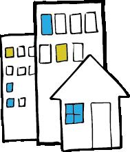 Tegning av hus.