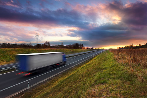 moving van on road