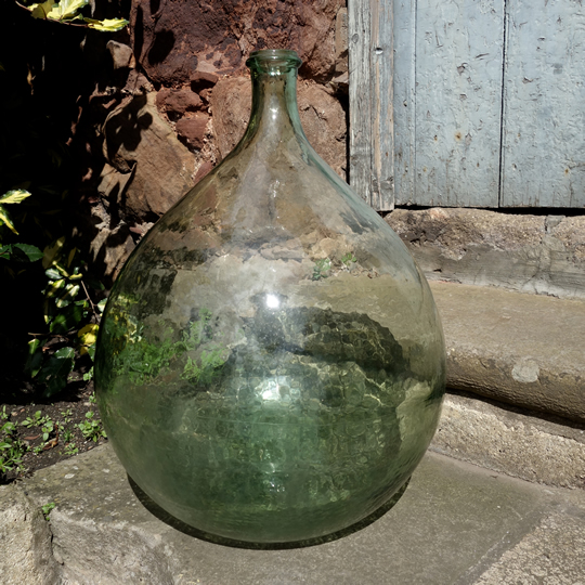 Vintage handblown glass demijohn -A-