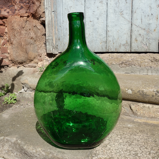 Vintage handblown glass demijohn -B-