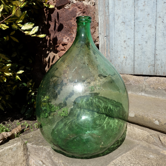 Vintage handblown glass demijohn -D-