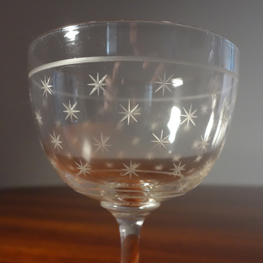 Etched crystal glasses with stars (V.S.L)
