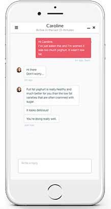 Screenshot of the app's coaching screen