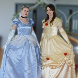 Cinderella and Belle Princesses in dresses