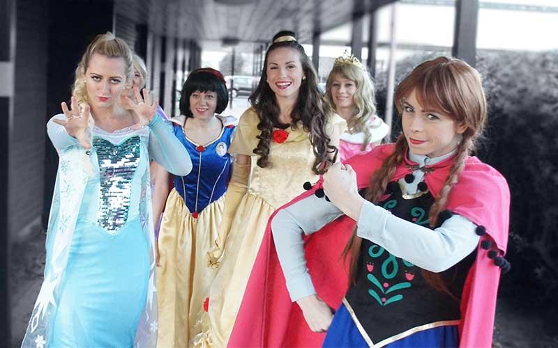 Elsa, Anna, Belle, Snow White and sleeping beauty posing