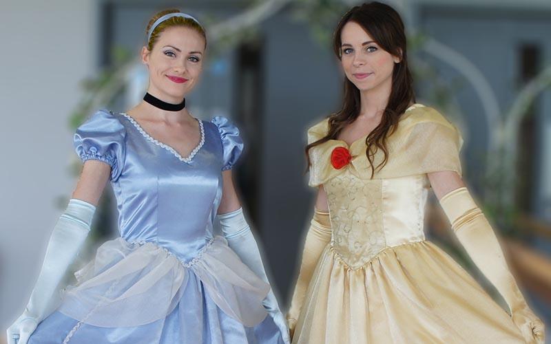 Cinderella & Belle princesses posing
