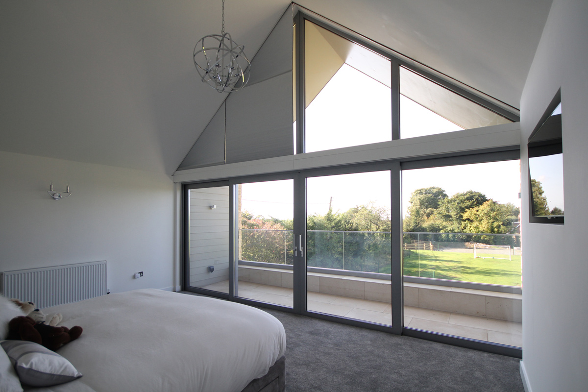 Concealed honeycomb blinds in gable window