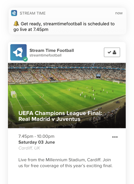 iOS screenshot of a live streaming broadcast reminder on Stream Time