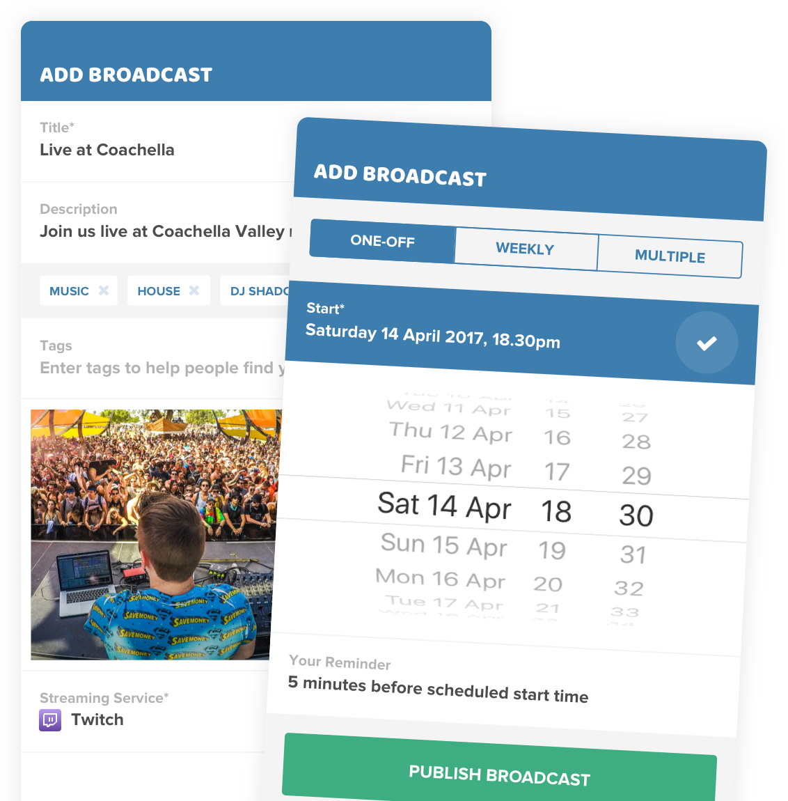 ios app screenshots of scheduling a live streaming broadcast on Stream Time