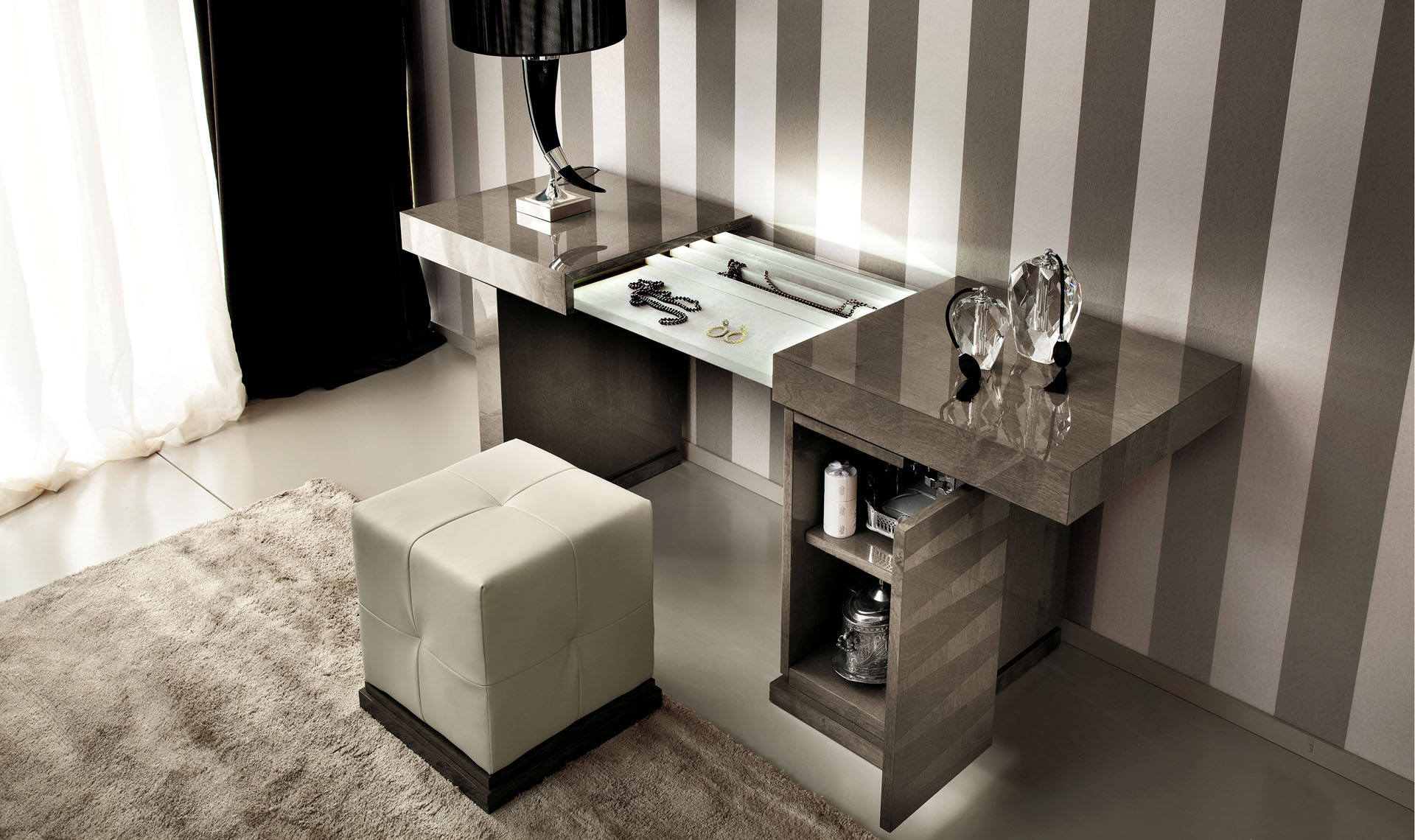 Monaco Bedroom Dressing Table & Pouff