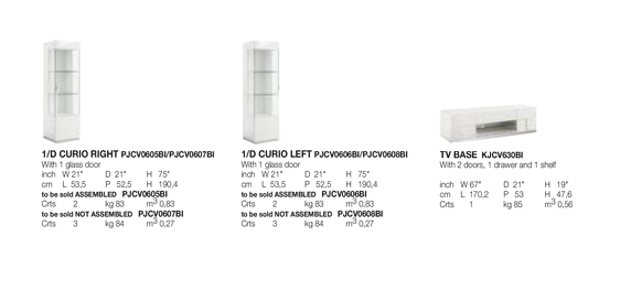 Canova TV Base and Curio Technical data