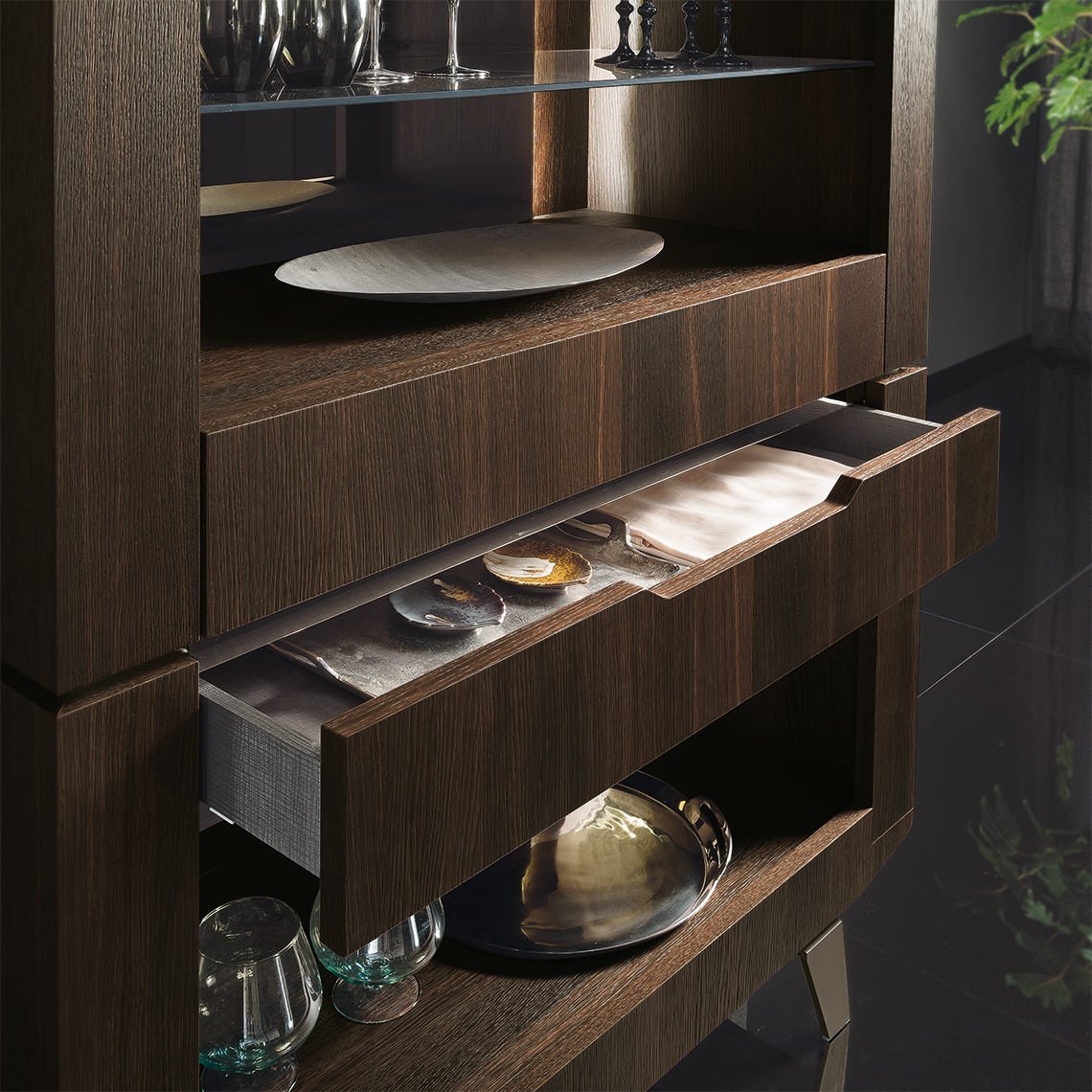 Accademia Dining Room Open Cabinet Details