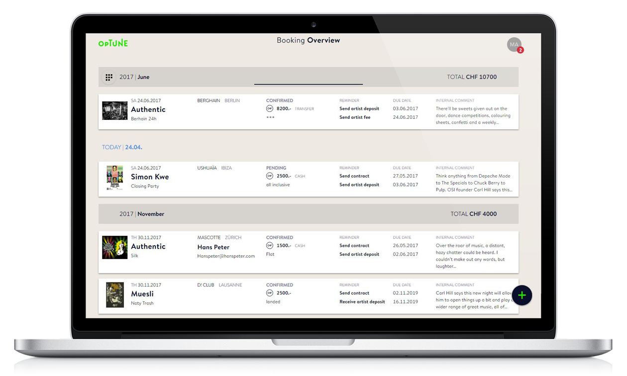 All your bookings in one simple space with Optune