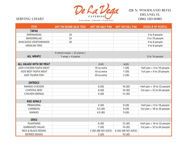 De La Vega Catering Serving Guide