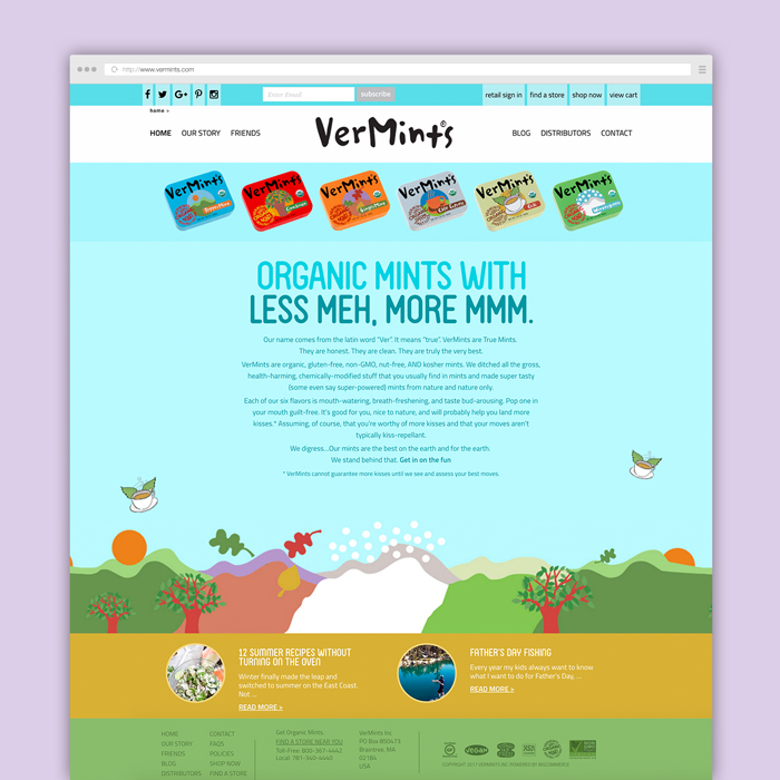 Website design for a US-based organic mint company.