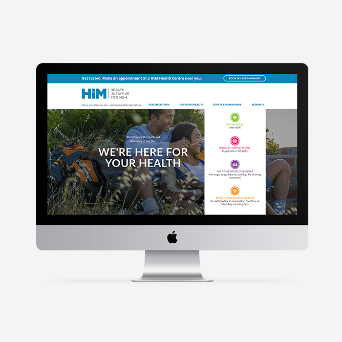 Web design for Heatlh Initiative for Men, a laymen's health organization serving gay, bi, trans men in Vancouver and its neighbouring Lower Mainland.