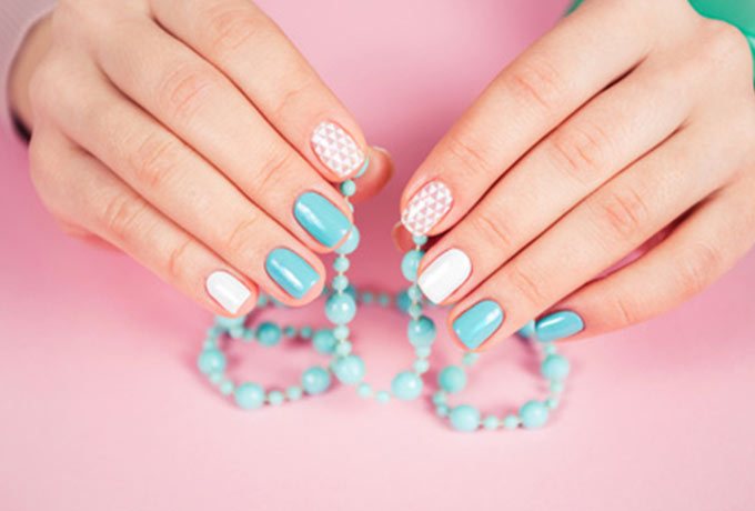 Gel Nails painted in patterns