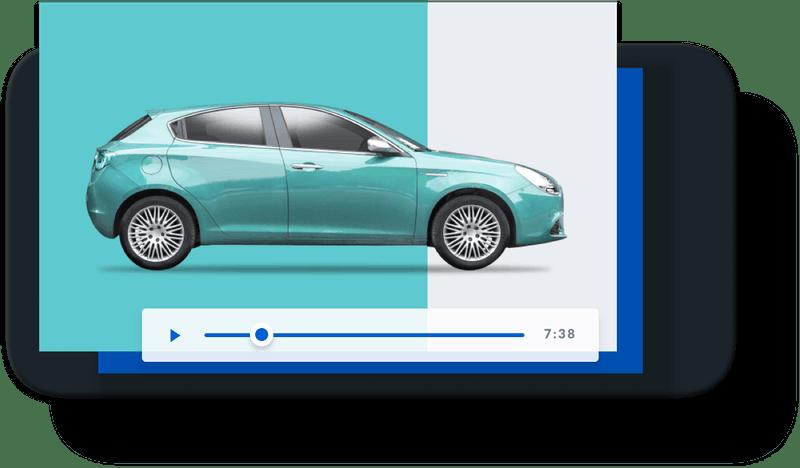 Boxで車の動画を再生しているスマートフォンの写真