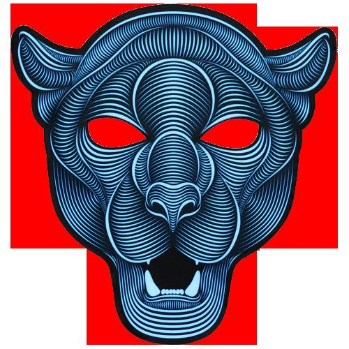 Светодиодная маска на основе фосфорных чернил, преобразующая звуковые волны в световые эффекты и мерцающая под музыку.
