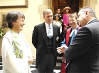 Rev. Shielagh Kesting, Moderator, with HRH Prince Andrew and Alex Samond wearing the green stole gifted by Alison Elliot.