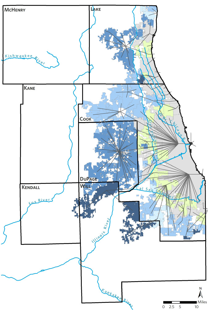 Map of northeastern Illinois drinking water sources