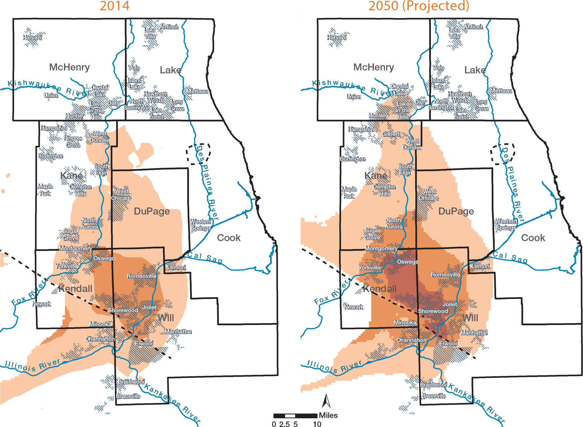 Maps of groundwater depletion in 2014 compared to 2050 (projected)