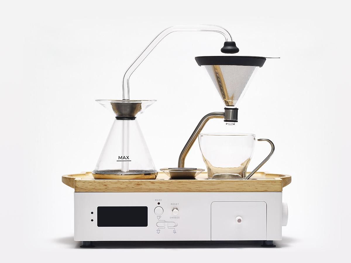 Barisieur coffee and tea alarm clock in white
