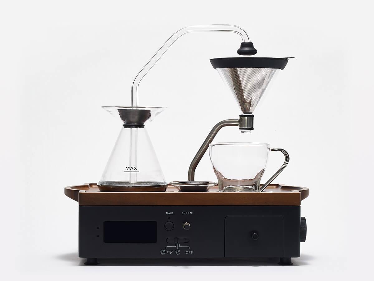 Barisieur coffee and tea alarm clock in black