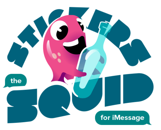 Stickers and animated squid logo